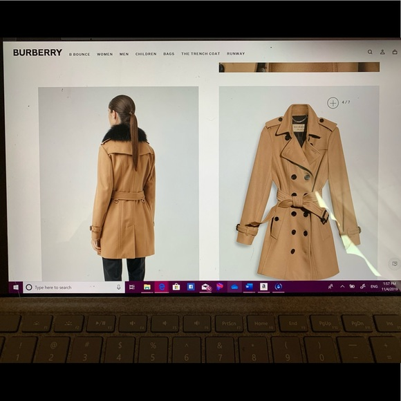 Burberry Cashmere Wool blend coat, Fox fur collar